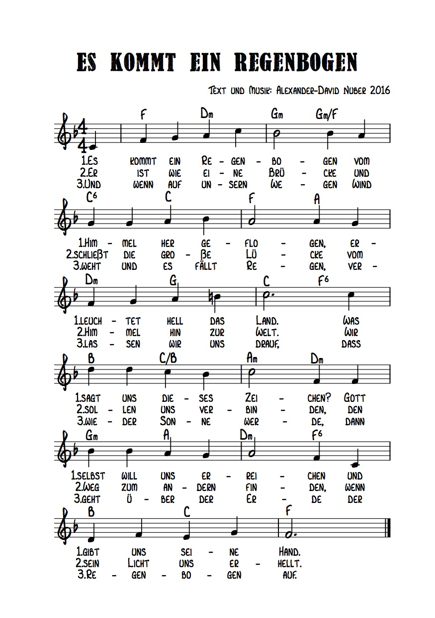 Liedtext regenbogen Text: Volker